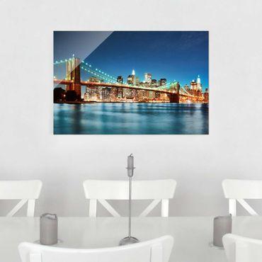 Glasbild - Nighttime Manhattan Bridge - Quer 3:2