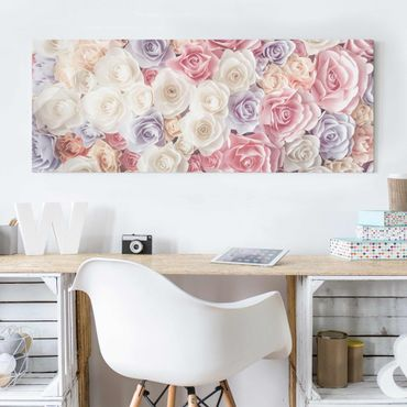 Glasbild - Pastell Paper Art Rosen - Panorama Quer - Blumenbild Glas