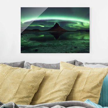 Glasbild - Polarlicht in Island - Quer 3:2