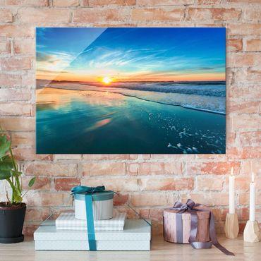 Glasbild - Romantischer Sonnenuntergang am Meer - Quer 3:2