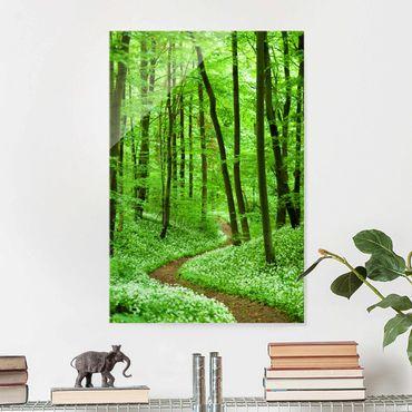Glasbild - Romantischer Waldweg - Hoch 2:3