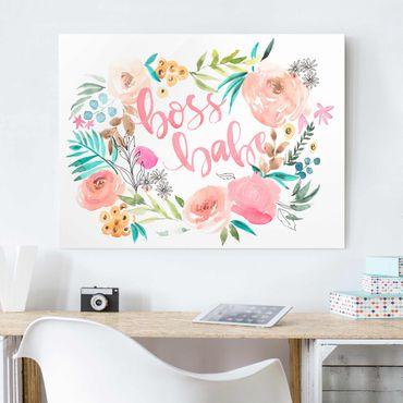 Glasbild - Rosa Blüten - Boss Babe - Querformat 3:4