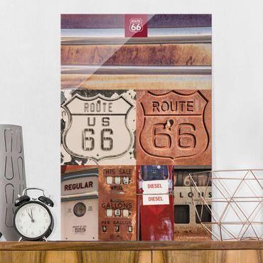 Glasbild - Route 66 - Collage Rostige Schilder - Hochformat 3:2