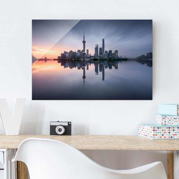 Glasbild - Shanghai Skyline Morgenstimmung - Querformat 2:3