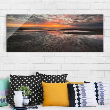 Glasbild - Sonnenaufgang im Watt - Panorama