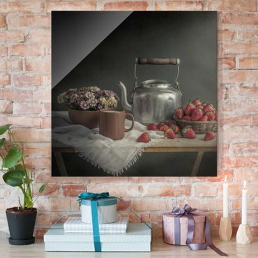 Glasbild - Stillleben mit Erdbeeren - Quadrat 1:1