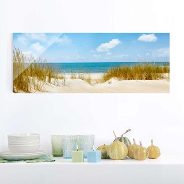 Glasbild - Strand an der Nordsee - Panorama Quer
