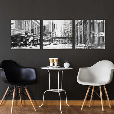 Glasbild mehrteilig - NYC Urban schwarz-weiss 3-teilig