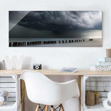 Glasbild - Sturmwolken über der Ostsee - Panorama