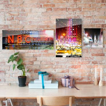 Glasbild Times Square City Lights mehrteilig - 3-teilig