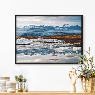 Bild mit Rahmen - Gletscherlagune - Querformat