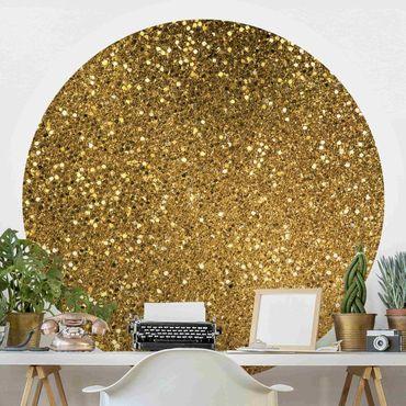 Runde Tapete selbstklebend - Glitzer Konfetti in Gold