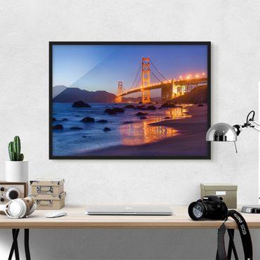 Bild mit Rahmen - Golden Gate Bridge am Abend - Querformat