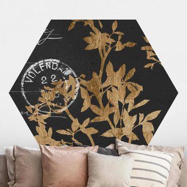 Hexagon Mustertapete selbstklebend - Goldene Blätter auf Mokka II