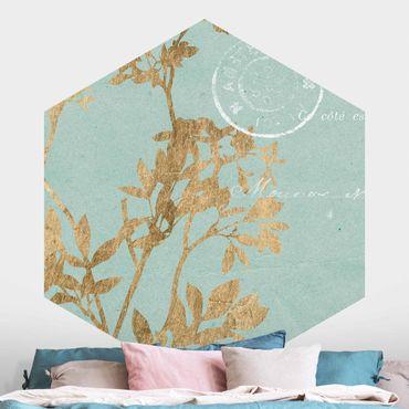 Hexagon Mustertapete selbstklebend - Goldene Blätter auf Turquoise I