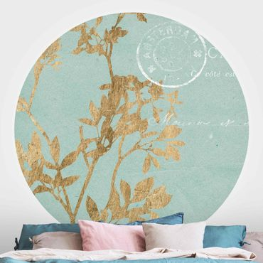 Runde Tapete selbstklebend - Goldene Blätter auf Turquoise I