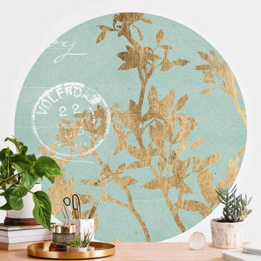 Runde Tapete selbstklebend - Goldene Blätter auf Turquoise II