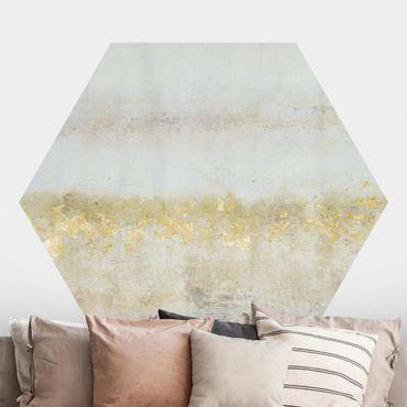 Hexagon Mustertapete selbstklebend - Goldene Farbfelder I