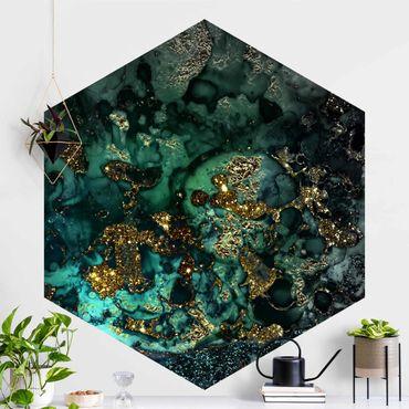 Hexagon Mustertapete selbstklebend - Goldene Meeres-Inseln Abstrakt