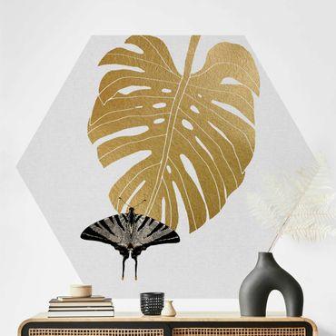 Hexagon Mustertapete selbstklebend - Goldene Monstera mit Schmetterling