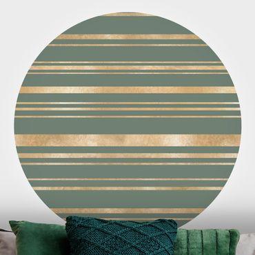 Runde Tapete selbstklebend - Goldene Streifen vor Grün