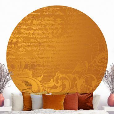Runde Tapete selbstklebend - Goldener Barock