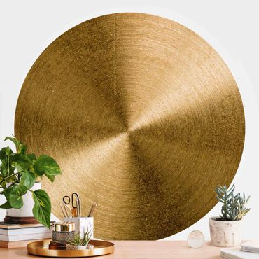 Runde Tapete selbstklebend - Goldener Kreis gebürstet