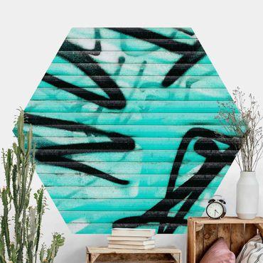 Hexagon Mustertapete selbstklebend - Grafitti auf Türkis