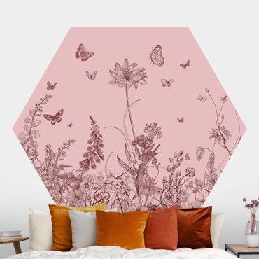 Hexagon Mustertapete selbstklebend - Große Blumen mit Schmetterlingen auf Rosa