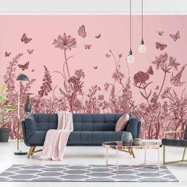 Fototapete - Große Blumen mit Schmetterlingen auf Rosa