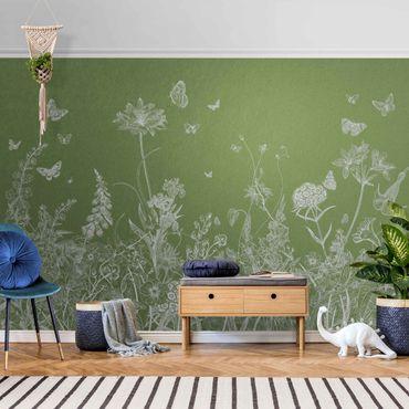 Metallic Tapete  - Große Blumen mit Schmetterlingen in Grün