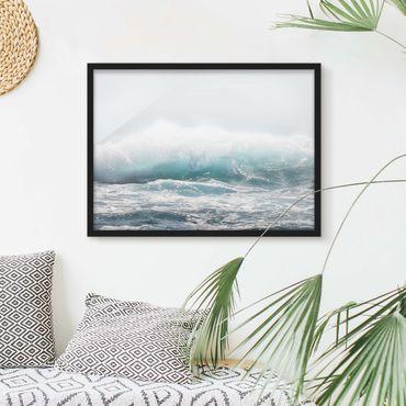Bild mit Rahmen - Große Welle Hawaii - Querformat