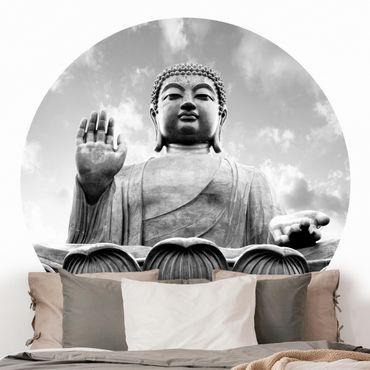 Runde Tapete selbstklebend - Großer Buddha Schwarz-Weiß