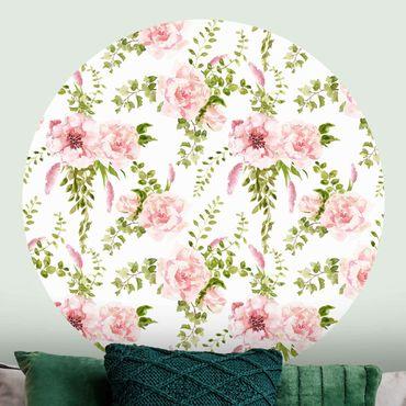 Runde Tapete selbstklebend - Grüne Blätter mit Rosa Blüten in Aquarell