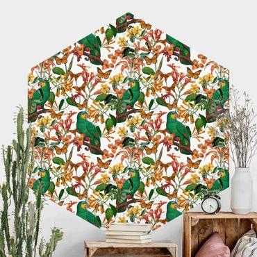 Hexagon Mustertapete selbstklebend - Grüne Papageien mit tropischen Schmetterlingen