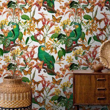 Metallic Tapete  - Grüne Papageien mit tropischen Schmetterlingen
