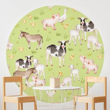 Runde Tapete selbstklebend - Grüne Wiese mit Kühen und Hühnern