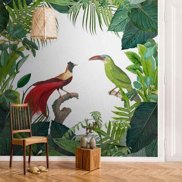 Metallic Tapete  - Grünes Paradis mit tropischen Vögeln
