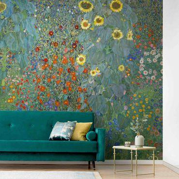 Metallic Tapete  - Gustav Klimt - Garten Sonnenblumen