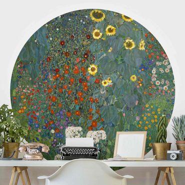 Runde Tapete selbstklebend - Gustav Klimt - Garten Sonnenblumen