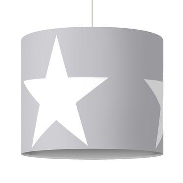 Hängelampe - Große weiße Sterne auf grau