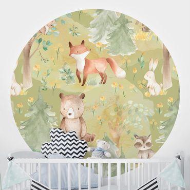 Runde Tapete selbstklebend - Hase und Fuchs auf Grüner Wiese