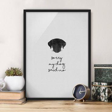 Bild mit Rahmen - Haustier Zitat Sorry My Dog Said No - Hochformat