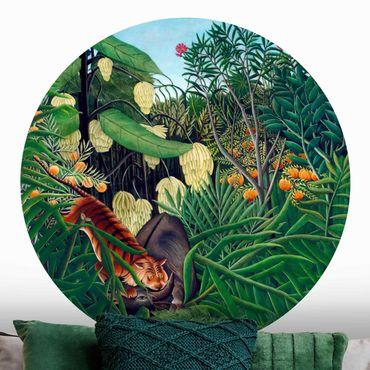 Runde Tapete selbstklebend - Henri Rousseau - Kampf zwischen Tiger und Büffel