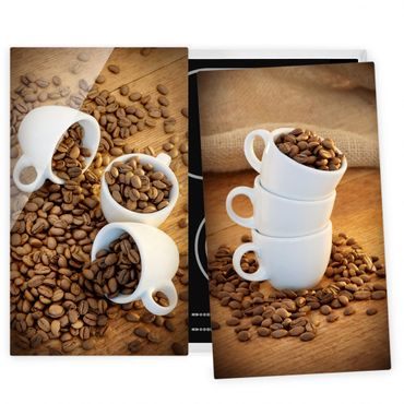 Herdabdeckplatte Glas - 3 Espressotassen mit Kaffeebohnen