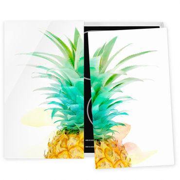 Herdabdeckplatte Glas - Ananas Aquarell