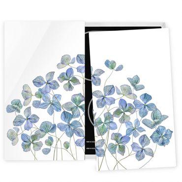 Herdabdeckplatte Glas - Blaue Hortensienblüten - 52x60cm