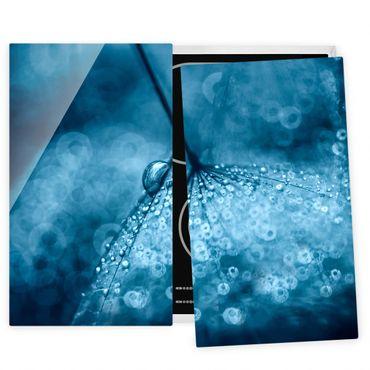 Herdabdeckplatte Glas - Blaue Pusteblume im Regen - 52x60cm