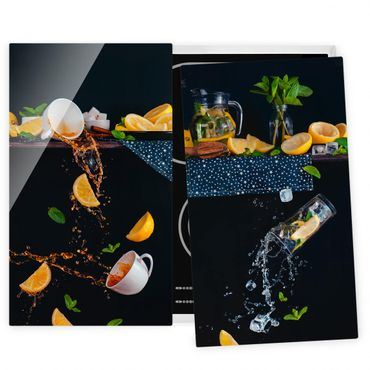 Herdabdeckplatte Glas - Citrus Splash