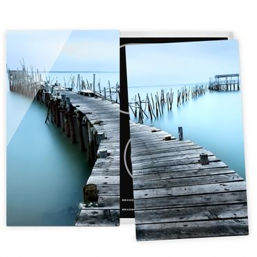 Herdabdeckplatte Glas - Der Hafen von Carrasqueira - 52x60cm